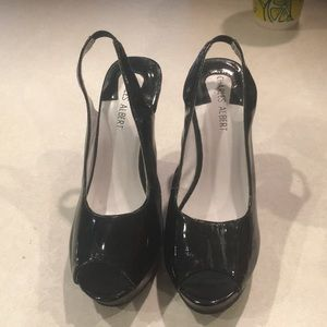 Women's black wood wedges worn once size 6.5